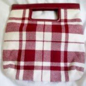 Banana Republic Bags - NEW BANANA REPUBLIC Wool Leather TOTE Clutch Plaid